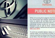 Toyota and Suzuki Suspend Bookings for Non-Tax Filers